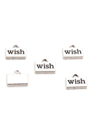 www.sayila.be - Metalen hangers/bedels rechthoek met tekst Wish 13x10,5mm - D29537