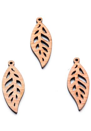 www.sayila.com - Wooden pendants feather/leaf 50x19mm