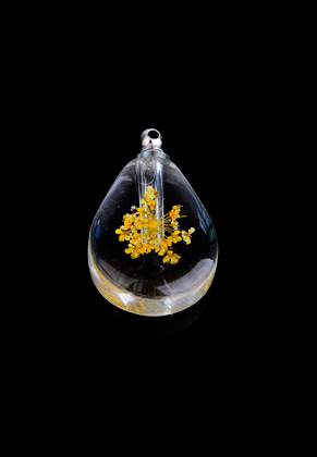 www.sayila.com - Glass bottle with metal cap and dried flower 33x19,5x7,5mm