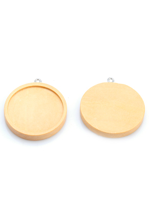 www.sayila.com - Wooden pendants round 39x35mm with setting for 30mm flatback