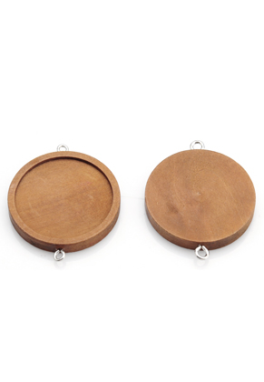 www.sayila.com - Wooden connectors round 44x35mm with setting for 30mm flatback