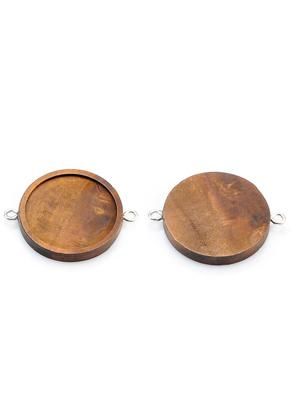 www.sayila.es - Conectores de madera redondo 44x35mm con cuadro para 30mm cabujón