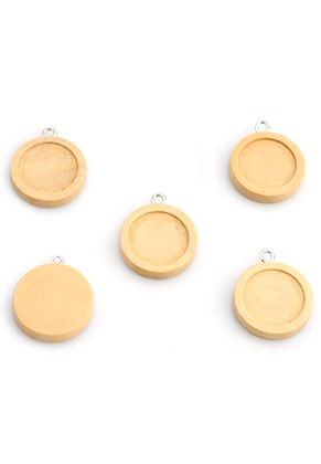 www.sayila.com - Wooden pendants round 27x23mm with setting for 18mm flatback