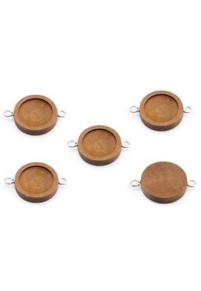 www.sayila.es - Conectores de madera redondo 33x23mm con cuadro para 18mm cabujón