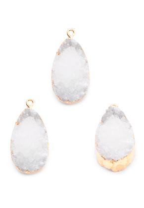 www.sayila.com - Natural stone pendant Crystal oval 30-35x18-23mm