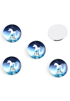 www.sayila.com - Glass flat backs/cabochons round with unicorn 18mm