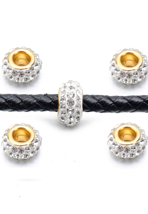 www.sayila-perlen.de - Großloch-Still Strass Perlen aus Knete mit Strass Rondelle 12x7mm