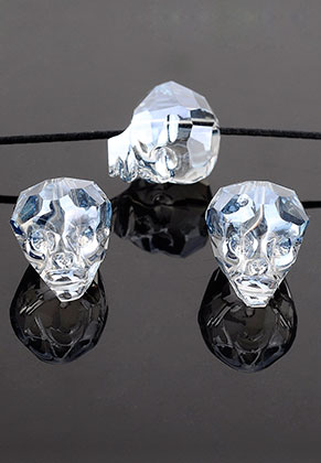www.sayila.nl - Glaskraal kristal doodshoofd/schedel facet geslepen 20x17mm