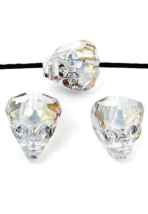 www.sayila.nl - Glaskraal kristal doodshoofd/schedel facet geslepen 14x13mm