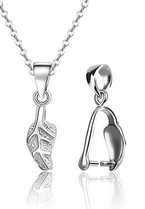 www.sayila-perlen.de - 925er Silber Collierschlaufe für Anhänger Blätter 20x5mm