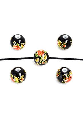 www.sayila.nl - Kunststof kraal rond met bloemen 12mm