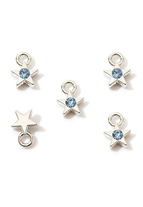 www.sayila.com - Metal pendants/charms star with strass 9x6,5mm