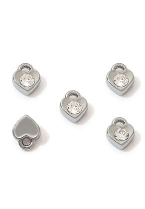 www.sayila.nl - Metalen hangers/bedels hartje met strass 7,5x6mm