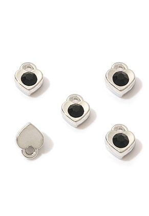 www.sayila.com - Metal pendants/charms heart with strass 7,5x6mm