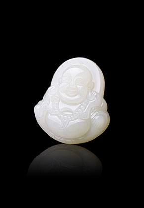 www.sayila-perlen.de - Naturstein Anhänger White Jade Buddha 38x34mm