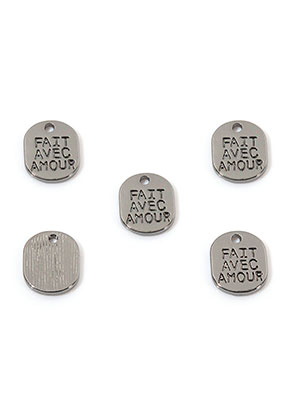 www.sayila.com - Metal pendants/charms oval with text Fait avec amour 10x8mm