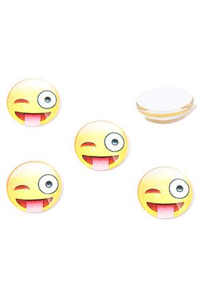 www.sayila-perlen.de - Glas Klebsteine/Cabochons rund mit Emoji Print 12mm