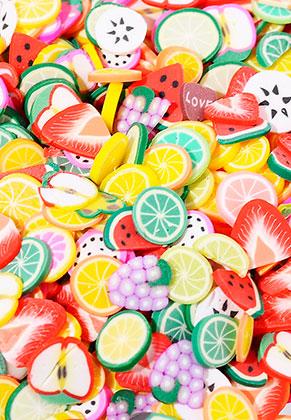 www.sayila.nl - Mix polymeerklei schijfjes fruit 5x5mm (± 4500 st.)