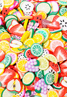 www.sayila.nl - Mix polymeerklei schijfjes fruit 5x5mm (± 4500 st.) - D31606