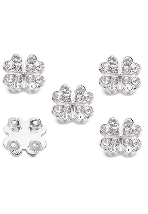 www.sayila.com - Metal dividers four-leaf clover with strass 13,5x6,5mm