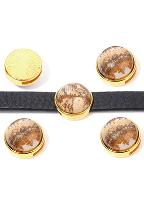 www.sayila.com - Metal slide-bead with natural stone Picture Jasper round 17,5x10,5mm