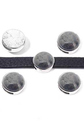 www.sayila.com - Metal slide-bead with natural stone Agate round 17,5x10,5mm