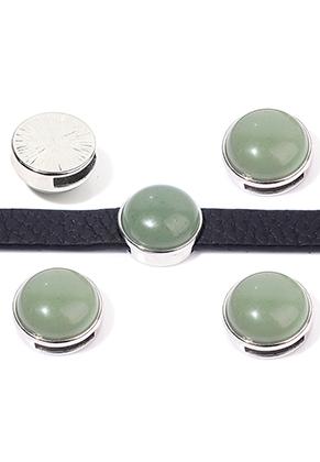 www.sayila.com - Metal slide-bead with natural stone Green Aventurine round 17,5x10,5mm
