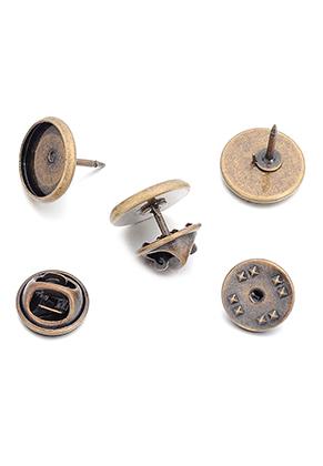 www.sayila-perlen.de - Metall Reversnadeln 14x11mm mit Fassung für 12mm Klebstein