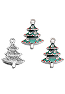 www.sayila.com - Metal pendant with epoxy Christmas tree 26x17mm - D33114