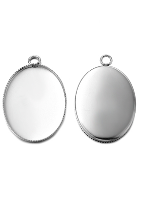 www.sayila.com - Stainless steel pendants setting oval 29,5x19mm for flat back 25x18mm
