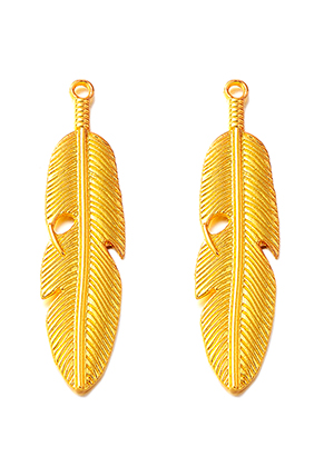 www.sayila.com - Metal pendants feather 61x15mm
