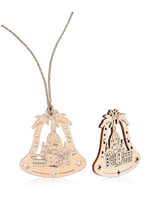 www.sayila.es - Colgantes de madera campana de Navidad 55x55mm