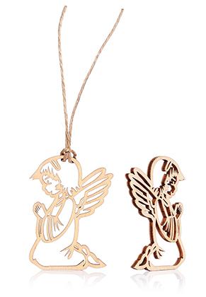www.sayila.com - Wooden pendants little angel 60x45mm