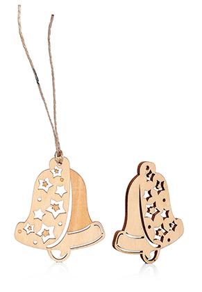 www.sayila.nl - Houten hangers kerstklok 60x50mm