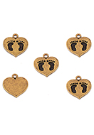 www.sayila.co.uk - Metal pendants/charms heart with feet 15x14mm - D33548