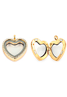www.sayila.com - Metal pendant locket 'Floating Charm Locket' heart with strass 35x30mm - D33662