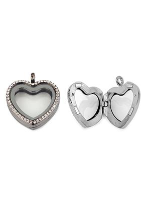 www.sayila.es - Colgante de metal medallón 'Floating Charm Locket' corazón con strass 35x30mm