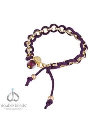 www.sayila.nl - DoubleBeads Creation sieradenpakket armband met metalen jasseron ketting, kunstsuede koord en glas kraal (inclusief handleiding)