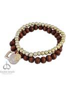 www.sayila.fr - DoubleBeads Creation kit de bijoux bracelet avec perles de matière synthétique metal look et de bois et pendentifs/breloques de métal (inclusivement mode d'emploi) - DA00010