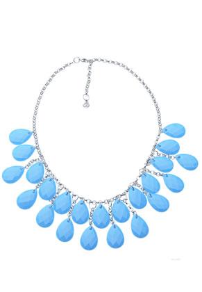 www.sayila-perlen.de - DoubleBeads Creation Schmuckpaket Metall Halskette mit Kunststoffanhänger Tropfen facette geschliffen (inklusive Anleitung)