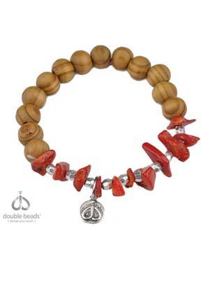 www.sayila.nl - DoubleBeads Creation Mini sieradenpakket armband met houten en koraal kralen
