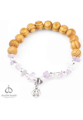 www.sayila-perlen.de - DoubleBeads Creation Mini Schmuckpaket Armband mit Holz und Naturstein Perlen Amethyst