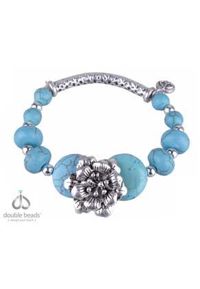 www.sayila.com - DoubleBeads Creation Mini jewelry kit bracelet with metal and Imitation Turquoise beads