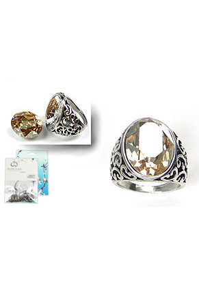 www.sayila.nl - DoubleBeads Mini Sieradenpakket ring ± 23x20mm, binnenmaat ± 18x19mm, met SWAROVSKI ELEMENTS Fancy Stone en metalen ring met kastje