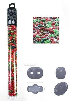 www.sayila.com - Mix Superduo Czech glass seed beads with 2 holes 5x2,5mm (320 pcs.)