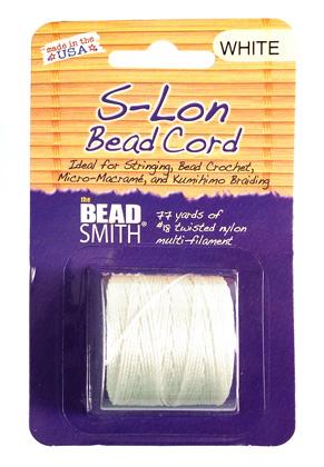 www.sayila.co.uk - S-Lon Bead Cord/nylon thread White 210 tex, 70m per roll and 0,5mm thick