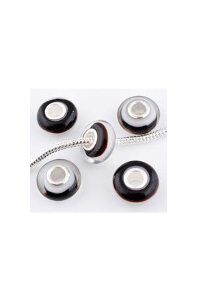 www.sayila.be - Groot-gat-style glaskraal met 925 zilveren kern rondel 14x7mm