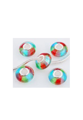 www.sayila.com - Large-hole-style glass bead with 925 silver core roundel 14x7mm