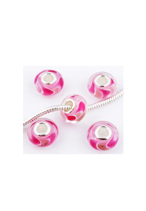 www.sayila.fr - Style grand-trou perle en verre avec base de 925 argent rondelle 14x7mm