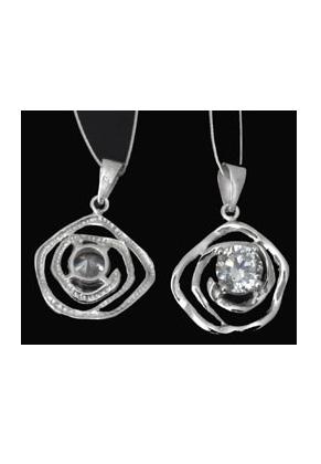 www.sayila-perlen.de - 925er Silber Anhänger Blume mit Zirkonia 25x17mm